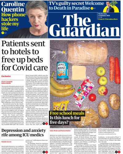 Newspaper headlines: Hospital patients 'sent to hotels' and jab rollout concerns