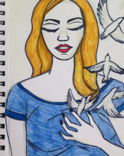Woman with birds.