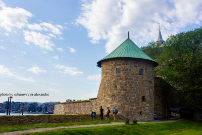 Akershus fortress in Oslo. Akershus  Festning in summer sunny day
