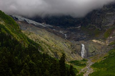Beautiful view on the waterfall. My photo from the Caucasus.