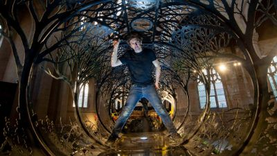 Tankers and Transit vans sculpted into steel forests