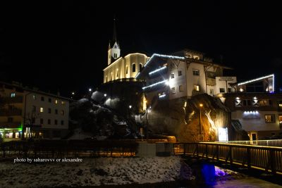 Beautiful night view of the church which stands on top of a mountain. My trip to Austria