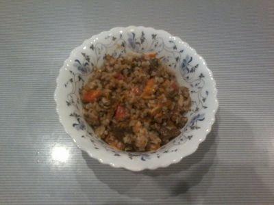 Very tasty buckwheat porridge with chicken and mushrooms. My recipe