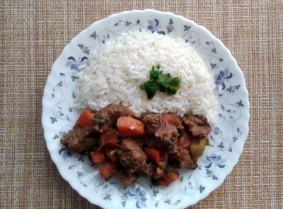 My new recipe for spicy elk meat with vegetables and rice.