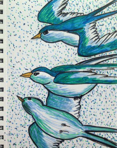 Three birds)))