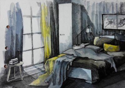Bedroom lonely man