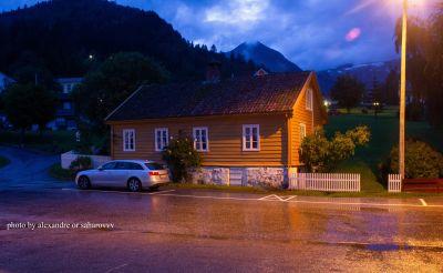 Evening in Balestrand. Walk around the village. Norway