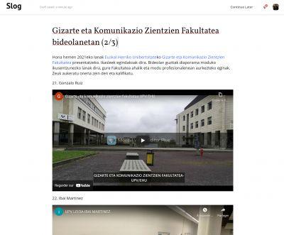 Gizarte eta Komunikazio Zientzien Fakultatea bideolanetan (2/3)
